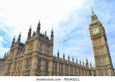 Famous Big Ben and Westminster Abbey in London, England in the summer