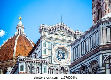 Famous big Cupola del Brunelleschi and Cattedrale di Santa Maria del Fiore (Cathedral of Saint Mary of the Flower) in Firenze Florence, Tuscany, Italy