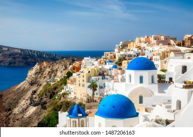 The Famous Blue Domes in the Beautiful Village of Oia on Santorini, Greece