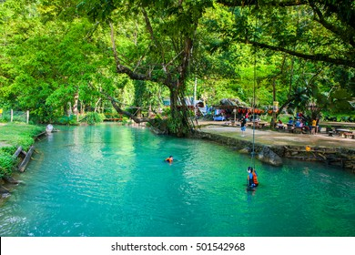 The famous Blue Lagoon in Vang Vieng, North Laos
