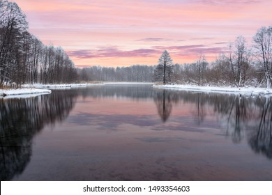 Famous blue lakes of karst origin. Blue lakes do not freeze in winter and feed on groundwater. Water and mud lakes are healing from a variety of diseases. Lakes Russia, Kazan. Winter landscape.
