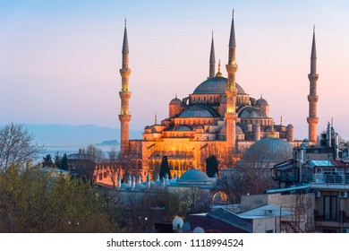 Famous Blue Mosque (Sultanahmet Camii) with sunset sky from the old town of Istanbul, Turkey