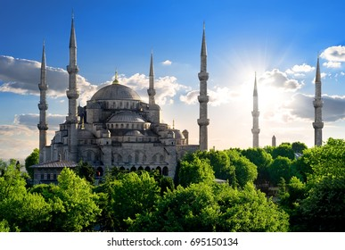 Famous Blue Mosque at sunny summer day in Istanbul, Turkey