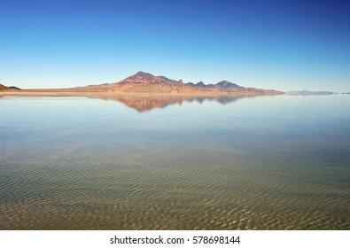 The famous Bonneville Salt Flats in Utah, flooded under a couple inches of water.