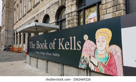 Famous Book of Kells at Trinity College in Dublin - DUBLIN / IRELAND - MARCH 21, 2018