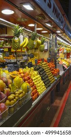 Famous Bouqueria - the biggest market hall in Barcelona - BARCELONA / SPAIN - OCTOBER 5, 2016