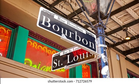 Famous Bourbon Street road sign in the French Quarter of New Orleans, Louisiana