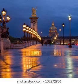 famous Bridge of Alexandre III  at blue  night,  Paris, France