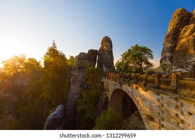 famous bridge at Bastei at sunrise, Rathen, Saxony, Germany