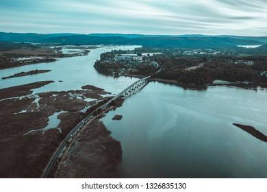 Famous bridge crossing over river at Valdivia, Chile
