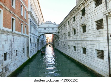 The famous Bridge of Sighs in Venice, Italy, passing over the Rio di Palazzo and connecting the New Prison (Prigioni Nuove) to the interrogation rooms in the Doge's Palace.