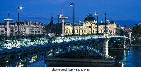 Famous bridge and University in Lyon by night, France