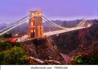 famous Bristol's city clifton high suspension bridge with lights on illuminated at dusk steep valley England United Kingdom of Great Britain