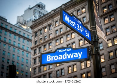 Famous Broadway street sign in New York City