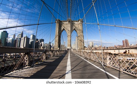 The famous Brooklyn bridge in New York city, USA.