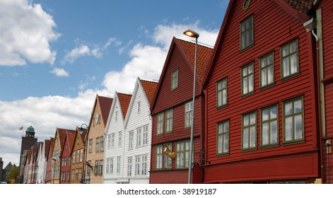 The famous Bryggen in Bergen, Norway. Colorful wooden houses.