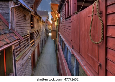 The famous Bryggen in Bergen, Norway. Colorful wooden houses. UNESCO World Heritage Site.
