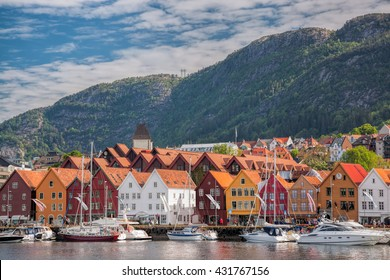 Famous  Bryggen street in Bergen, UNESCO World Heritage Site, Norway