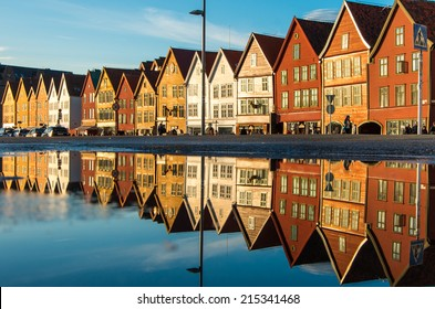 Famous Bryggen street with wooden colored houses in Bergen, Norway, UNESCO world heritage cite - architecture background
