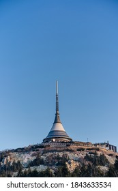 Famous building on top of the Jested mountain, Liberec, Czech republic. Hotel and broadcast building on the summit of Jested paek, Jizera mountains. - Shutterstock ID 1843633534