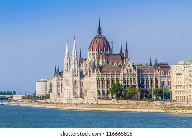 Famous building of Parliament at the bank of Danube River in Budapest. Hungary, Europe