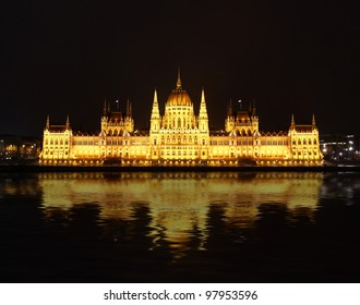 Famous building of Parliament at night, Budapest, Hungary