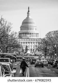 Famous building in Washington DC - The US Capitol - WASHINGTON DC / COLUMBIA - APRIL 7, 2017