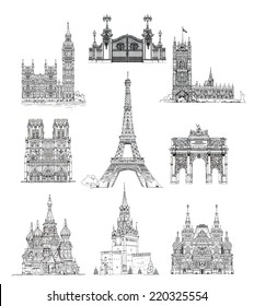 Famous buildings, sketch collection. Paris Notre Dame, Big Ben and houses of parliament, Gate, Red square Moscow and etc