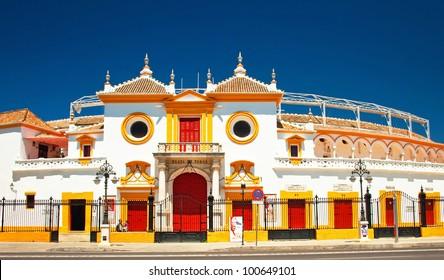 The famous bull arena of Seville, Spain