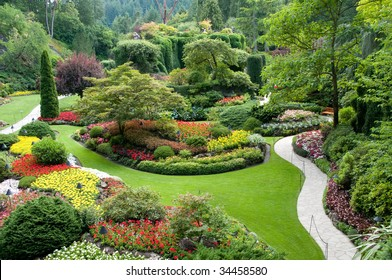 The famous Butchart Gardens at Victoria, B.C.