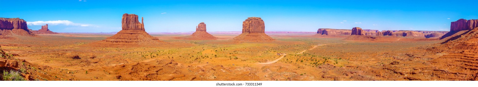 The famous Buttes of Monument Valley, Utah, USA, panoramic view