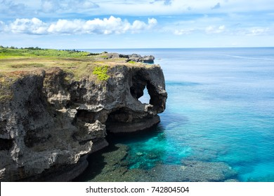 The famous cape and cliff in OKINAWA, JAPAN. With blue sky and cloud.