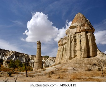 "Famous Cappadocian landmark - unique volcanic rock pillars, ""fairy chimney"" in Love Valley,Turkey,Central Anatolia,Europe"