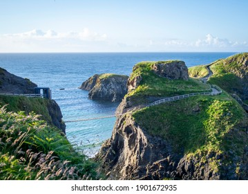 Famous Carrick-a-Rede Rope Bridge in Northern Ireland.