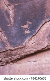 Famous carved Anasazi petroglyph representing an animal - Monument Valley National Park, Utah.