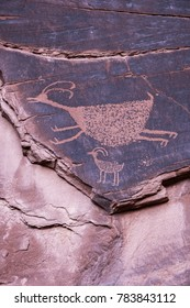 Famous carved Anasazi petroglyphs representing two animals - Monument Valley National Park, Utah.