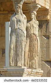 The famous caryatid porch in the Erechtheion on the Athens Acropolis, Greece