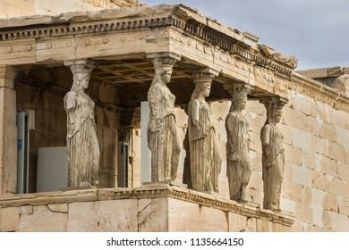 The famous Caryatids inside the Erecteion, Acropolis, Greece