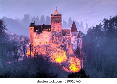 Famous Castle of Count Dracula in Bran town, residence of Queen Mary of Romania in Transylvania county at dusk