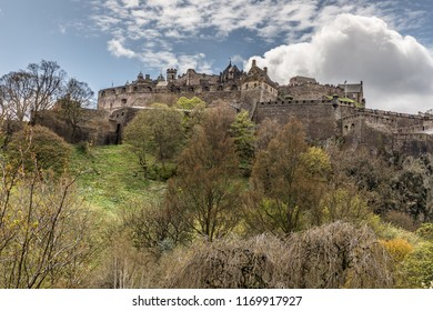 The famous Castle of Edinburgh under a blue sky