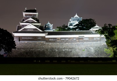 The famous castle in Japanese cisty of Kumamoto is in a fact a reconstruction of the historical building that was destroyed during the WW2. - Shutterstock ID 79042672