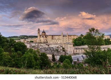 Famous castle in Urbino, Italy at sunset