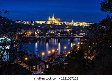 Famous castle and Vltava river from Vysehrad, Prague, Czech republic. Night scene. Travel destination. Architectural scene.