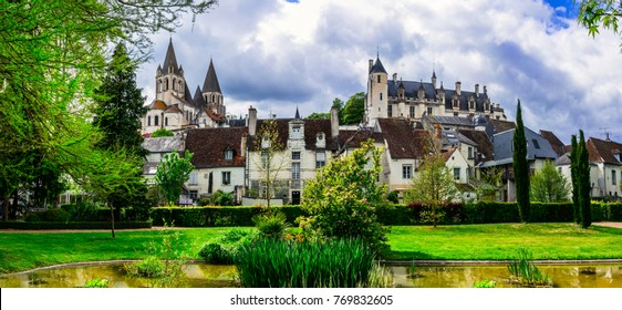 Famous castles of Loire valley - royal residence Loches. France