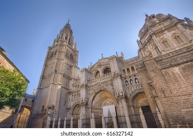 The famous cathedral of the historical town of Toledo, Spain