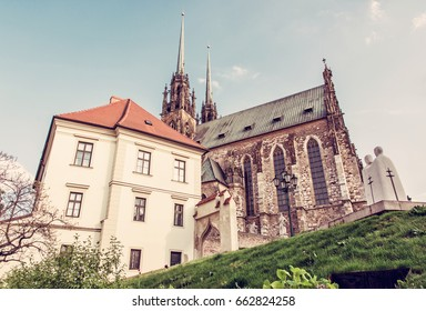 Famous Cathedral of St. Peter and Paul, Brno, Moravia, Czech republic. Travel destination. Religious architecture. Red photo filter.
