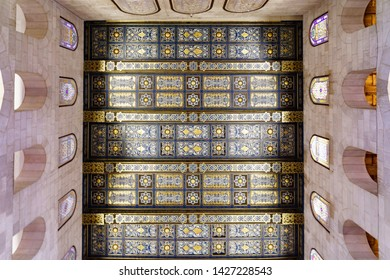 Famous ceiling of Al-Aqsa Mosque near the dome of the rock  in Jerusalem on the top of the Temple Mount israel palestine  22 october 2018