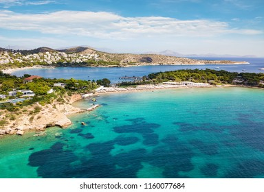 The famous celebrity beach Astir at Vouliagmeni district in south Athens, Greece, with turquoise water and fine sand