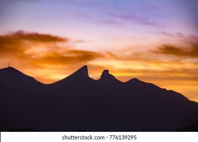 Famous Cerro de la Silla mountain in Monterrey Nuevo Leon Mexico