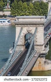 The famous Chain Bridge (1849) is a suspension bridge that spans the River Danube between Buda and Pest. Budapest, Hungary, Europe